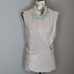 Boston Proper Silver Peplum Blouse Shell 👚